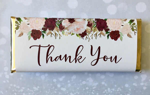 Wedding Floral Thank You Candy Bar Wrapper - Cathy's Creations - www.candywrappershop.com