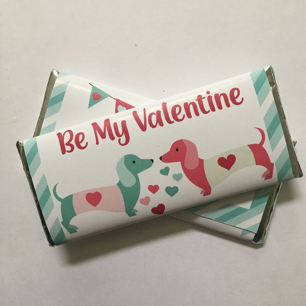 Valentine's Day Dachshund Candy Bar Wrapper - Cathy's Creations - www.candywrappershop.com