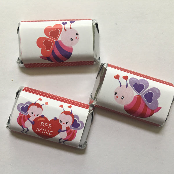 Valentine's Day Bee Mini Candy Wrappers - Cathy's Creations - www.candywrappershop.com