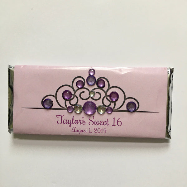 Princess Tiara Candy Bar with Bling-Candy Bar Wrapper-Cathy's Creations - www.candywrappershop.com