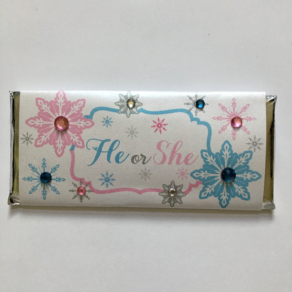 Snowflake Bling Gender Reveal Candy Bar - Cathy's Creations - www.candywrappershop.com