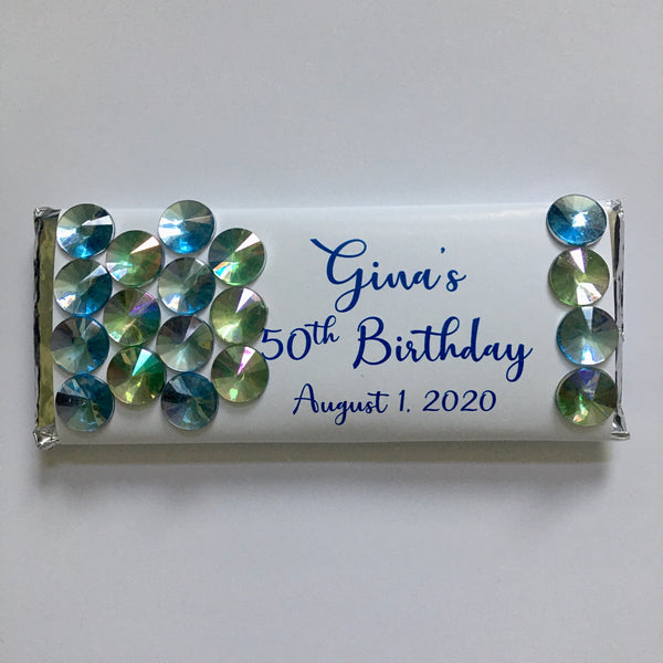 Blue Bling Candy Bar - Cathy's Creations - www.candywrappershop.com