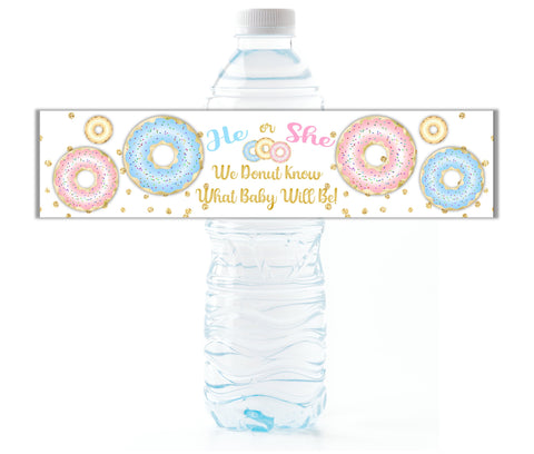 Donut Gender Reveal Water Bottle Labels - Cathy's Creations - www.candywrappershop.com