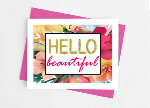 Hello Beautiful Note Cards-Note Cards-Cathy's Creations - www.candywrappershop.com