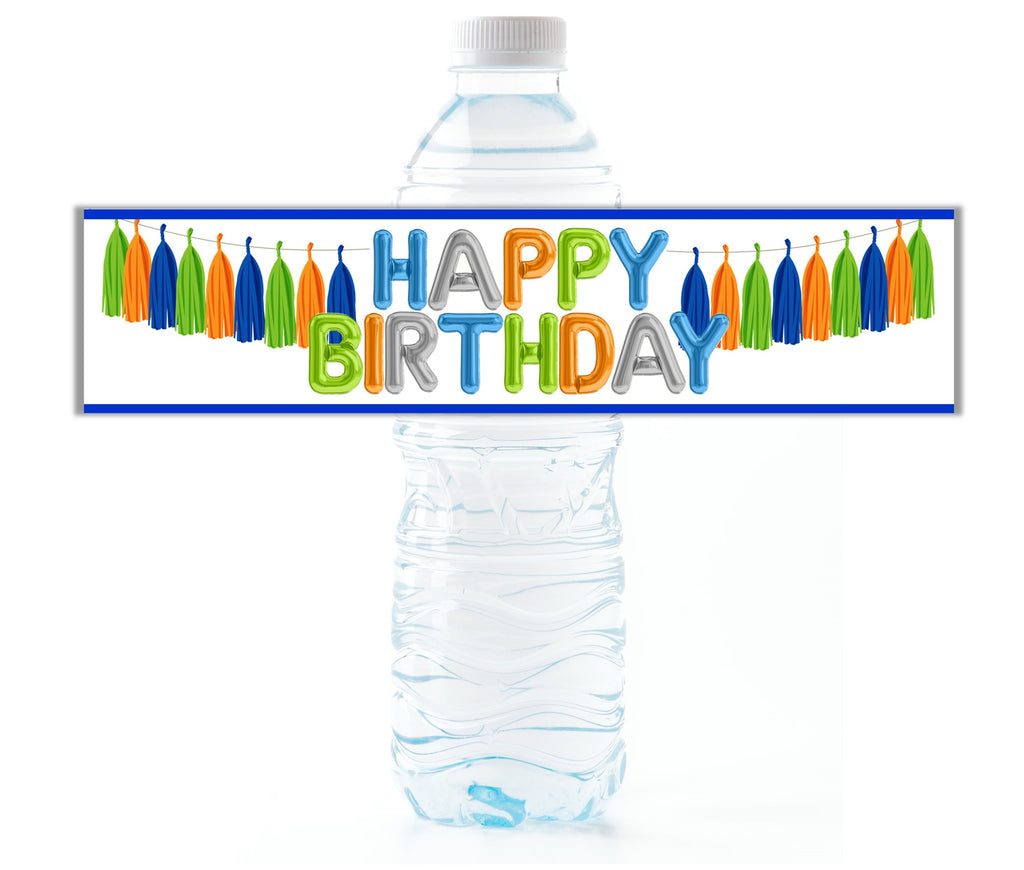 Happy Birthday Water Bottle Labels - Cathy's Creations - www.candywrappershop.com