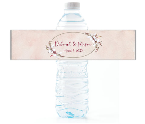 Floral Wedding Water Bottle Labels - Cathy's Creations - www.candywrappershop.com