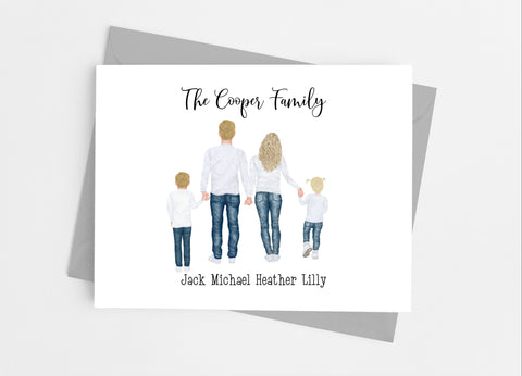 Denim Family Portrait Note Cards-Note Cards-Cathy's Creations - www.candywrappershop.com