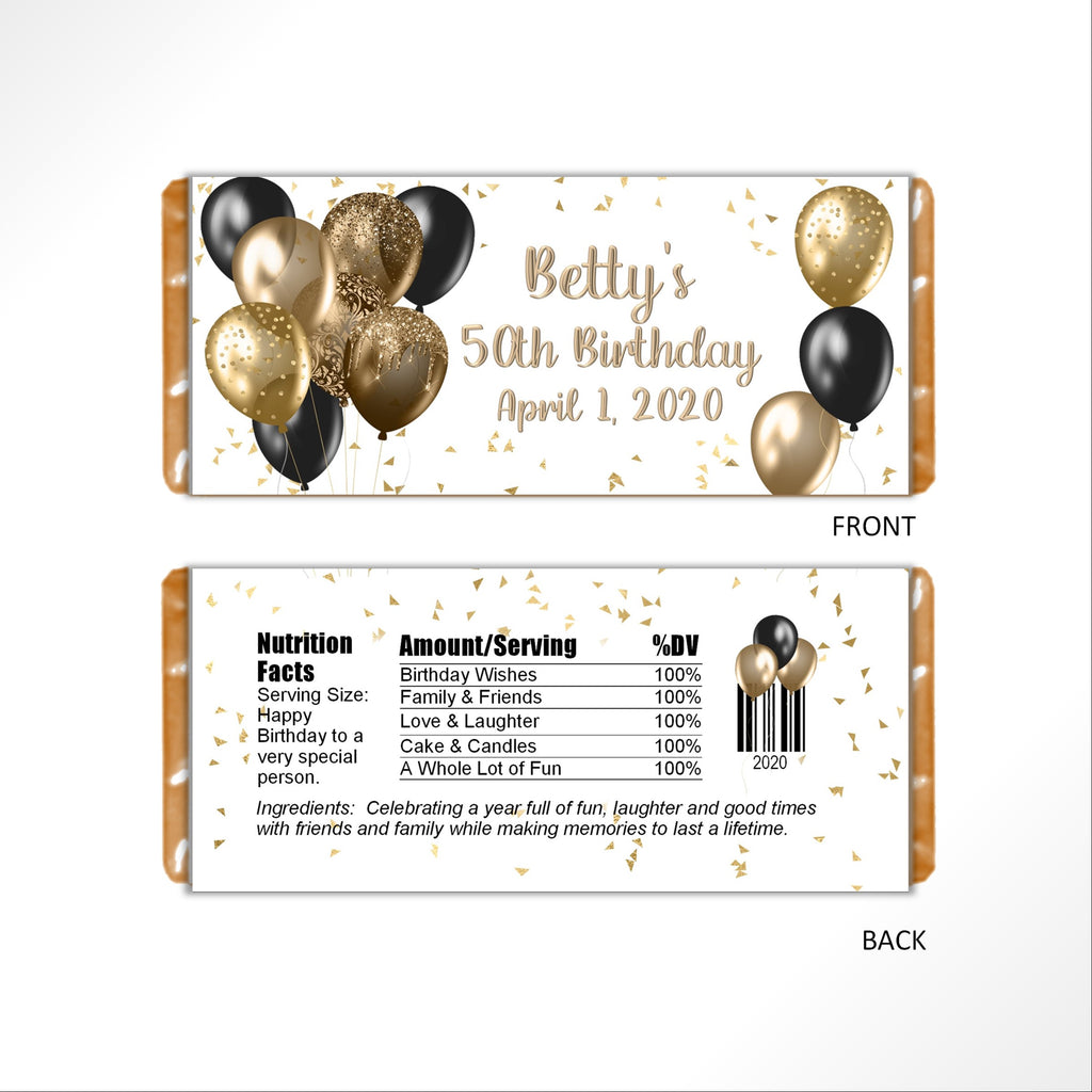 Gold and Black Balloons Candy Bar Wrapper - Cathy's Creations - www.candywrappershop.com