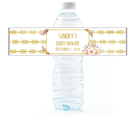 Boho Arrows Water Bottle Labels - Cathy's Creations - www.candywrappershop.com