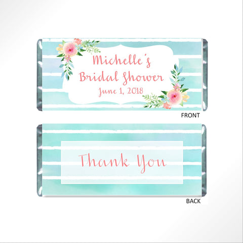 Aqua Blue Floral Candy Bar Wrapper - Cathy's Creations - www.candywrappershop.com