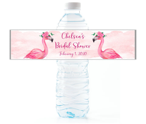 Pink Flamingo Water Bottle Labels - Cathy's Creations - www.candywrappershop.com