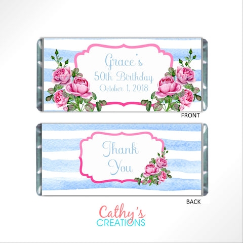 cathy-wraps - Rose Floral Candy Wrapper - Candy Bar Wrapper