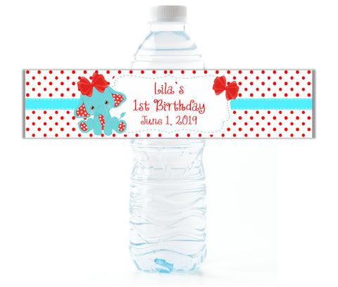 Red Elephant Water Bottle Labels - Cathy's Creations - www.candywrappershop.com
