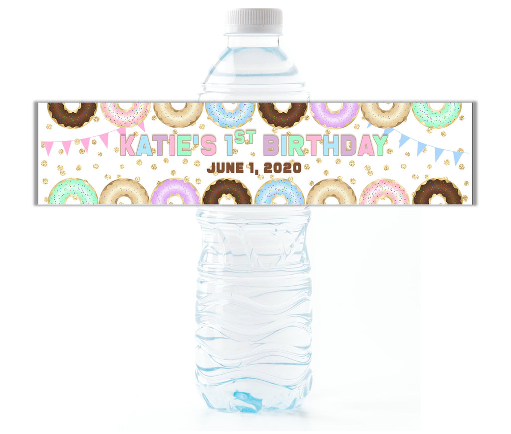 Donut Border Water Bottle Labels - Cathy's Creations - www.candywrappershop.com