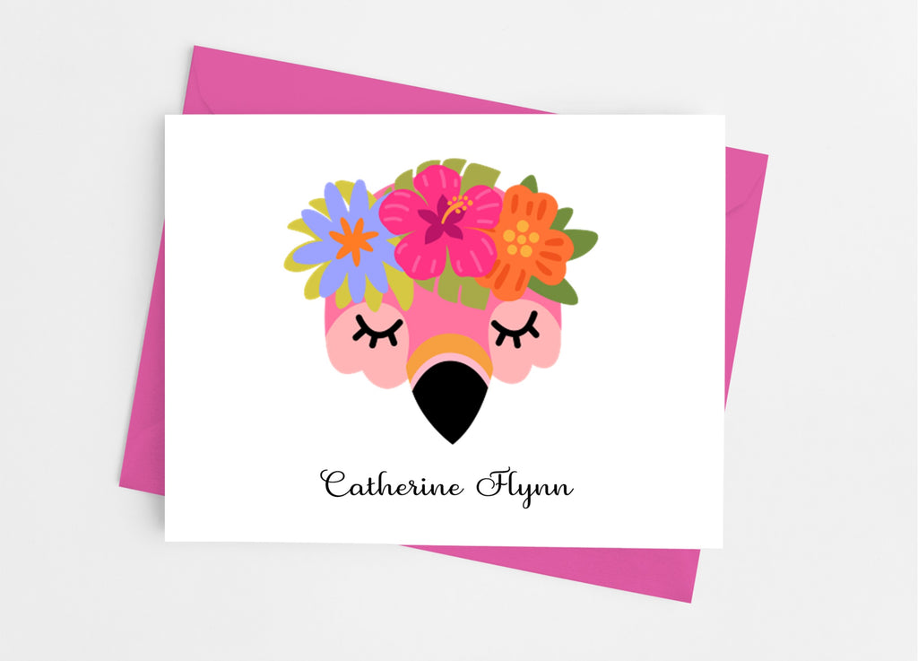 Flamingo Face Note Cards - Cathy's Creations - www.candywrappershop.com