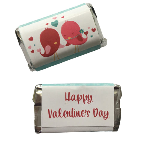 Valentine's Day Love Birds Mini Candy Bar Wrapper- Cathy's Creations - www.candywrappershop.com