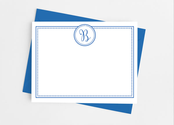 Single Initial Dots Monogram Flat Note Cards - Cathy's Creations - www.candywrappershop.com