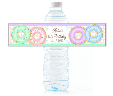 Donut Party Water Bottle Labels-Water Bottle Labels-Cathy's Creations - www.candywrappershop.com