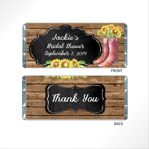 Rustic Cowboy Boot Candy Bar Wrapper - Cathy's Creations - www.candywrappershop.com