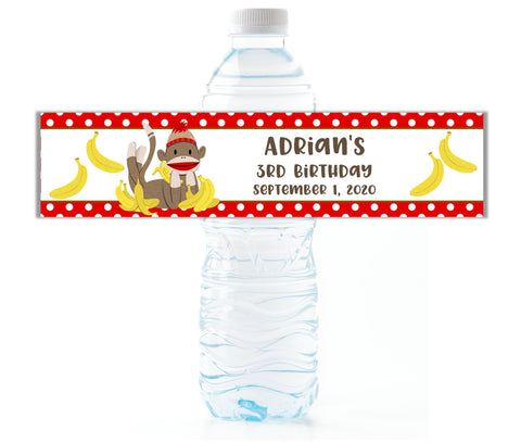 Sock Monkey Water Bottle Labels-Water Bottle Labels-Cathy's Creations - www.candywrappershop.com