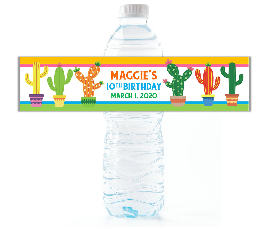 Cactus Water Bottle Labels - Cathy's Creations - www.candywrappershop.com