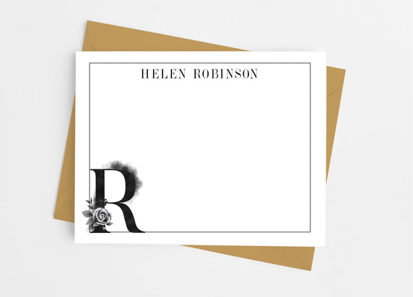 Black Floral Single Initial Monogram Flat Note Cards - Cathy's Creations - www.candywrappershop.com