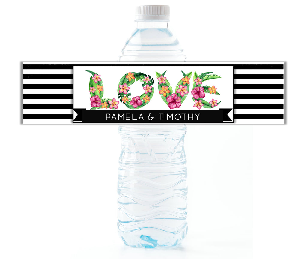 Tropical Love Water Bottle Labels - Cathy's Creations - www.candywrappershop.com