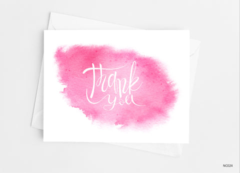 Pink Watercolor Thank You Cards Note Cards- Cathy's Creations - www.candywrappershop.com