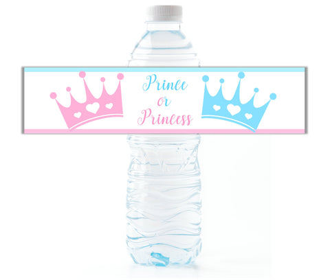 Royal Gender Reveal Water Bottle Labels - Cathy's Creations - www.candywrappershop.com