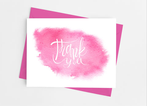 Pink Watercolor Thank You Cards-Note Cards-Cathy's Creations - www.candywrappershop.com