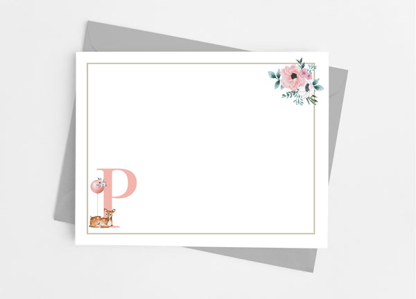 Floral Deer Single Initial Monogram Flat Note Cards - Cathy's Creations - www.candywrappershop.com