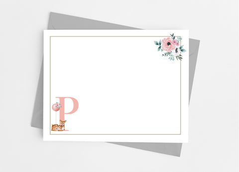 Floral Deer Single Initial Monogram Flat Note Cards-Flat Stationery Cards-Cathy's Creations - www.candywrappershop.com