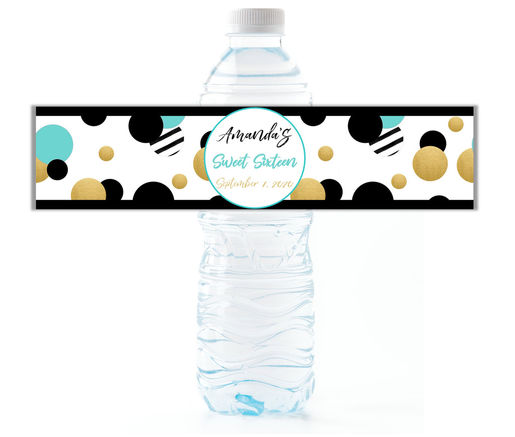 Aqua Retro Dot Water Bottle Labels - Cathy's Creations - www.candywrappershop.com