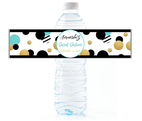 Aqua Retro Dot Water Bottle Labels-Water Bottle Labels-Cathy's Creations - www.candywrappershop.com