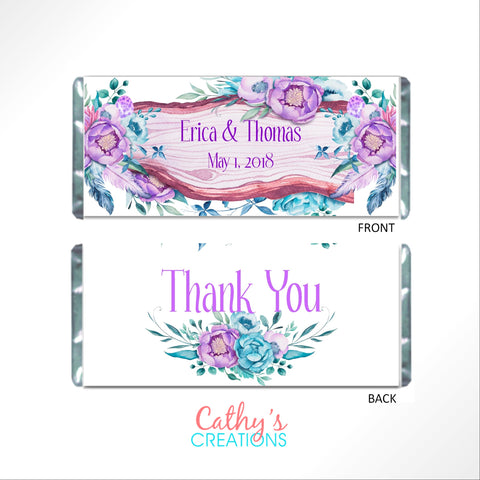 Floral & Feathers Boho Candy Bar Wrapper - Cathy's Creations - www.candywrappershop.com