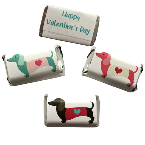 Dachshund Valentine's Day Mini Mini Candy Bar Wrappers- Cathy's Creations - www.candywrappershop.com