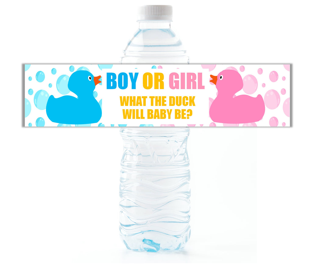 Rubber Duck Gender Reveal Water Bottle Labels - Cathy's Creations - www.candywrappershop.com