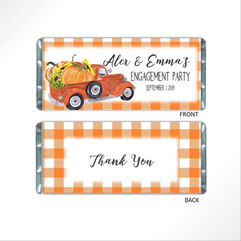 Pumpkin Truck Candy Bar Wrapper - Cathy's Creations - www.candywrappershop.com
