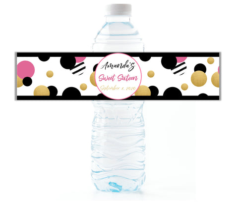 Pink Retro Dot Water Bottle Labels - Cathy's Creations - www.candywrappershop.com