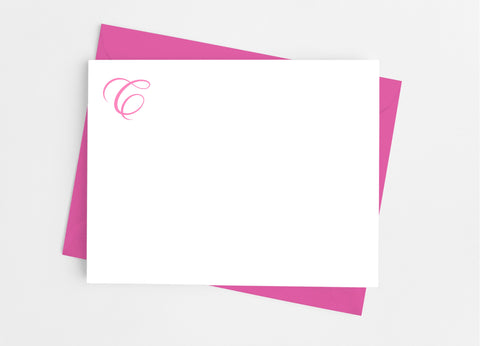Single Initial Monogram Stationery Flat Note Cards Flat Stationery Cards- Cathy's Creations - www.candywrappershop.com