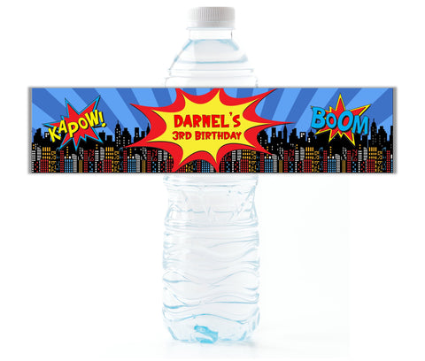 Comic Book Water Bottle Labels-Water Bottle Labels-Cathy's Creations - www.candywrappershop.com
