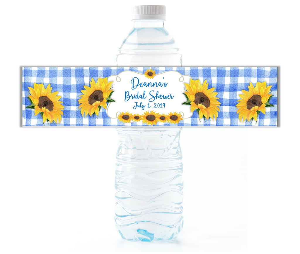 Sunflower Plaid Water Bottle Labels - Cathy's Creations - www.candywrappershop.com
