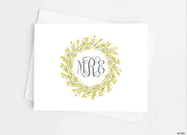 Yellow Wreath Monogram Note Cards - Cathy's Creations - www.candywrappershop.com