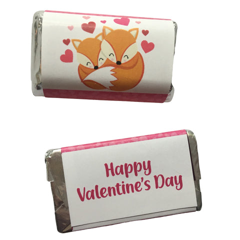Valentine's Day Fox Mini Candy Bar Wrapper- Cathy's Creations - www.candywrappershop.com