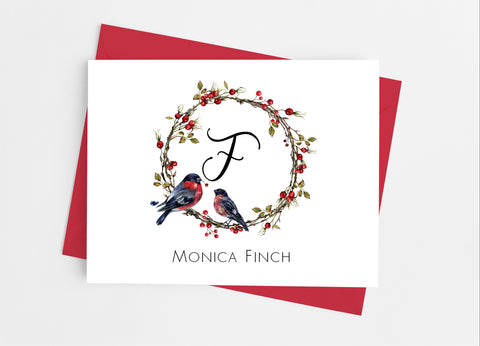 Christmas Bird Monogram Note Cards-Note Cards-Cathy's Creations - www.candywrappershop.com