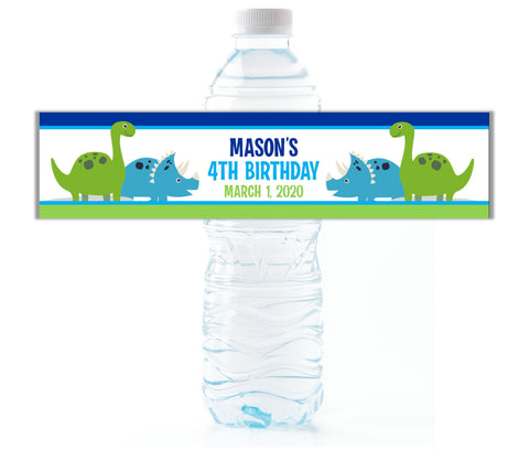 Dinosaur Water Bottle Labels-Water Bottle Labels-Cathy's Creations - www.candywrappershop.com