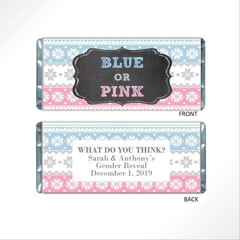 Snowflake Pattern Gender Reveal Candy Bar Wrapper - Cathy's Creations - www.candywrappershop.com