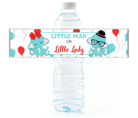 Elephant Gender Reveal Water Bottle Labels - Cathy's Creations - www.candywrappershop.com