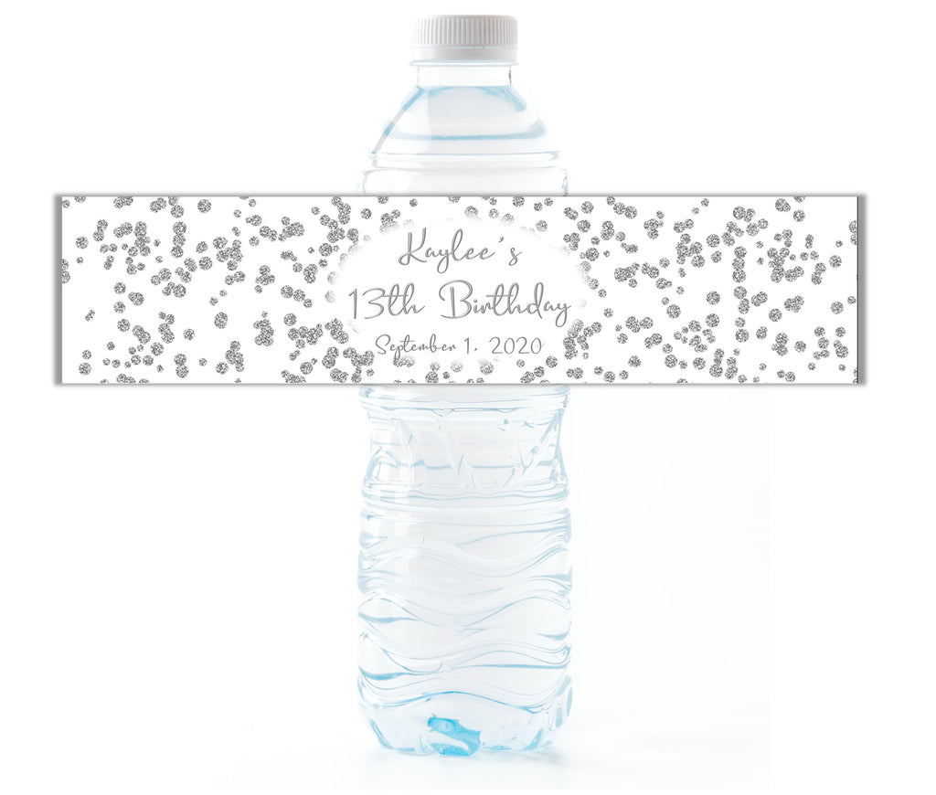 Silver Glitter Confetti Water Bottle Labels - Cathy's Creations - www.candywrappershop.com