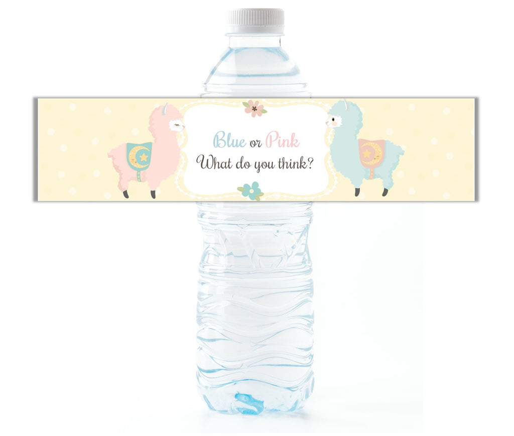 Llama Gender Reveal Water Bottle Labels - Cathy's Creations - www.candywrappershop.com